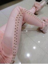 2014 European Fashion Skinny Girls Legging Pure Color Rivets Long Pants Mid Waist Pink Leggings S-L
