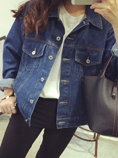 Women Street Wear Punk Hip-pop Pocket Button Long Sleeve Denim Jacket Lapel One Size High Fashion Jacket
