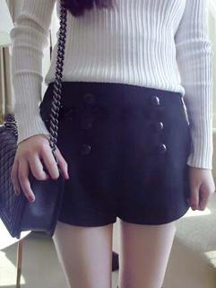 2014 New Cozy Classical Shorts Pure Color Buttons Mid Waist Elastic Short Black Woolen Pants M L