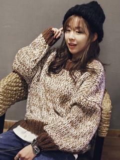 2014 Korean Loose Sweaters Color Block Round Collar Long Sleeve Brown Sweaters
