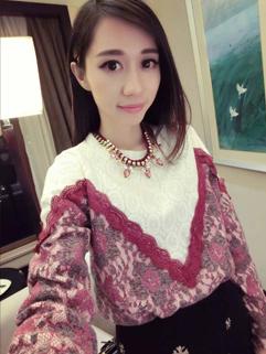 2014 New Coming Korean Hoodies Color Block Flowers Pattern Lace Splicing Round Collar Long Sleeve Hoodies