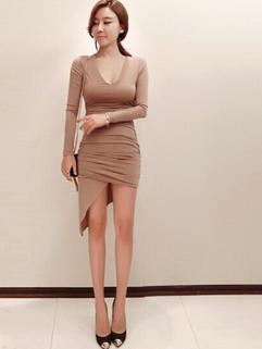 Women 2015 New Fashion Cozy Apricot Color Long Sleeve Dress Asymmetrical Hem Oversize Sexy Brand Dress