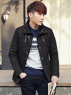 Men All Match Gentle Cozy Black Color Lapel Coat Zip Up Single-breasted Oversize Pocket Long Sleeve Casual Coat