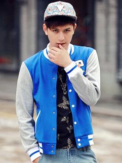 2014 Stylish Men Jackets Embroidery Pattern Baseball Neck Buttons Long Sleeve Blue Jackets M-3XL