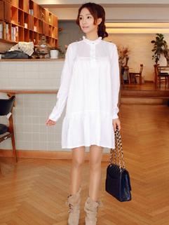 Adorable Ruffled Collar and Ruffled Hem Dress Wide Waist Buttoned Decorated Versatile Sweet Dress