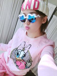 2014 Korean Hot Selling Hoodies Pure Color Printed Cartoon Pattern Beading Sequined Round Collar 2 Colors Hoodies