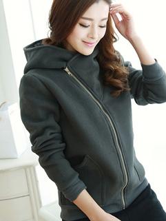 2014 Winter Korean Short Coats Pure Color Zip Up Hooded Long Sleeve Dark Gray Coats S-2XL