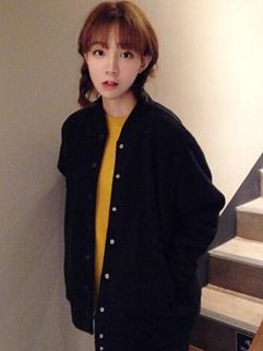 Korean Style New Arrival Simplicity Double-breasted Coat Baseball Collar Cardigan Women Coat