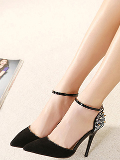 Size 35-40 PU Cozy Black Color Thin Heel Pump Performance Show 11CM Rhinestone One-buckle Belt Pump