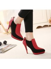 Women Night Club 11CM Red Color Pump Chic Color Block Back Zipper Thin Heel Pointed Toe Fashion Pump Size 35-39