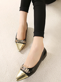 Women New Step Cozy Black Color Size 35-39 Flat Heel Flat Pointed Toe Split Joint Letter Printed Easy Match Flat