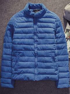 Simple Design Slant Pockets Velveteen Men Jacket Easy-handling Stand Collar Zip Up Casual Blue Jacket