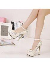 Women Panic Buying New Design Cozy White Color Lace Split Joint Pump Size 35-40 One-buckle Belt 14CM Pump