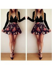 2015 New Night Club Dress Color Block Floral Printing Long Sleeve V-Neck Dress