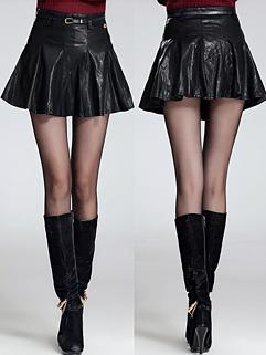 Wholesale Cozy Black Color Short Side Zipper PU Skirt Slim Wear Size S-L Ruched Chic Easy Match Skirt