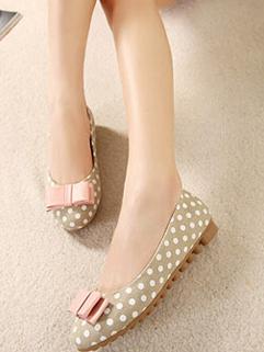 Women Honey Girl Cozy Apricot Color Round Toe Flat Dot Pattern Flat Heel Bow Knot Size 35-39 Cotton Flat