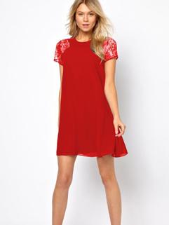 Women New Brand Cozy 3 Color Short Sleeve Oversize Slim Wear Dress Chiffon Lace Split Joint Pullover Dress