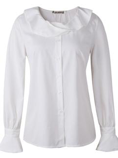 2015 Korean Partysu Women Blouses Pure Color Long Sleeve Lotus Doll Collar White Blouses S-L