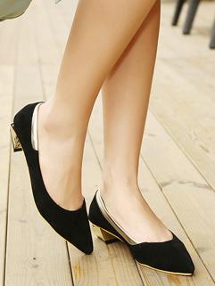 Beautiful Classic Look Pointed Flats Strange Heels Shiny Side Split Joint Black Flats
