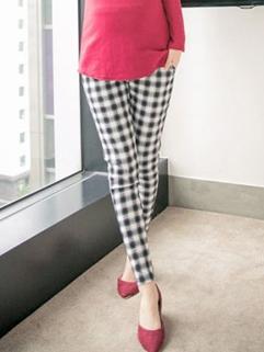 2015 Plus Size Classic Look Plaid Pattern Maternity Legging Comfortable Springy Casual Split Joint Legging