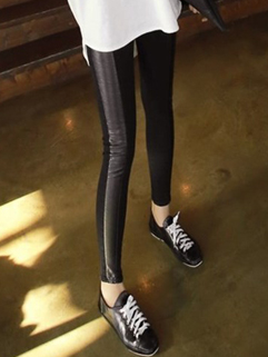 2015 Chic PU Split Joint Mummy Maternity Legging Comfortable Springy Casual Black Color Size M-XL Legging