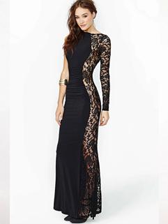 2015 Special Sexy Anomalous Maxi Dress Pure Color Lace Splicing Round Collar Cotton Black Maxi Dress XS-2XL