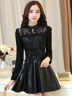 Fashion Women Lace Floral Printing Long Sleeve Black Dress