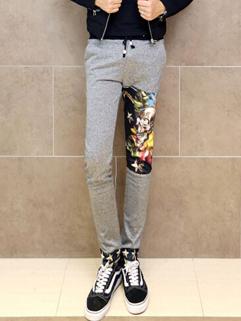 High Quality Pants Color Block Pockets Gray Skull Splicing Drawstring Full Long Pants M-XL