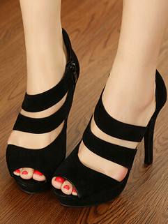 Trendy Cheap Online Black Pump Hollow Out Side Zipper Peep-toe High Heel Wholesale Womens Pumps