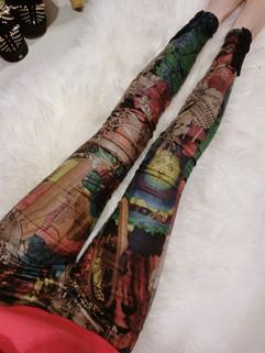 2015 Wholesale Pants Skinny Color Block Printed Pattern Mid Waist Long Pants