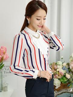 All Match Wholesale OL Lapel Striped Split Joint Long Sleeve Button Womens Blouse