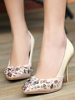 High Fashion White Pointed Toe Rhinestone Split Joint Thin Heel Pumps Online