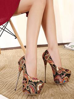 Fashion Black Royal Round Toe High Heel Floral Printed Womens Pumps