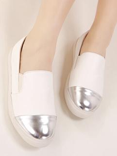 2015 Fashion Preppy White Flat Shallow Color Block Round Toe Cute Flat