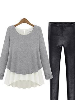 2015 Hot Selling Light Gray Long Sleeve Split Joint Chiffon Trendy Womens Blouse