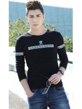 Fashion Handsome Men Black Cute Printed Long Sleeve Plus Size Trendy Clothing