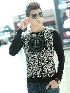 Trendy Design Long Sleeve Cute Printed Split Joint Black Mens Tee