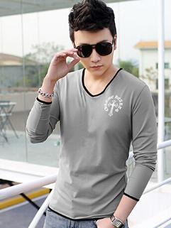 Cheap Plain V-Neck Long Sleeve Cotton Tee Shirt Fashion Printing Custom Fit Gray Tee For Men