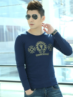 Easy Match Dark Blue Long Sleeve Split Joint Printed Fashion Clothes
