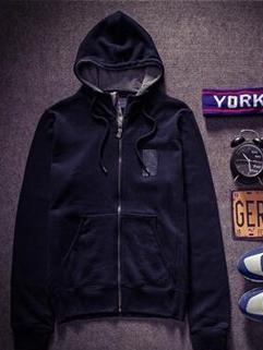 Korean Cool Black Long Sleeve Hooded Zip Up Vertical Pockets Mens Hoodies
