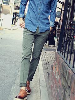 Korean New Brand Army Green Individual Pockets Mens Long Pant