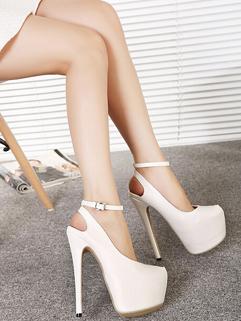 2015 New Brand White Round Toe Thin Heel One-buckle Belt Shallow Brand Pump