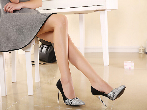 2015 Best Selling Metallic High Heels Prom Shoes Pointed Toe Silver Glitter Wedding Shoes