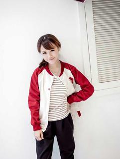 Korean Fashionable Red Long Sleeve Button Pocket Split Joint Womens Baseball Coat