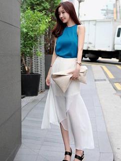 Korean Wholesale New Brand Chiffon Sleeveless Top Skirt Elegant Two Piece Dress