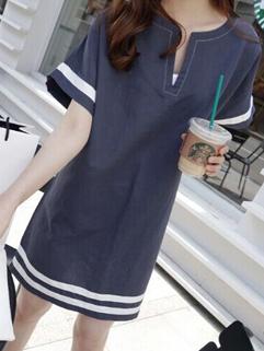 Summer Casual V-neck Striped Sweet Dress Short Sleeve Baggy Plain Shift Dress