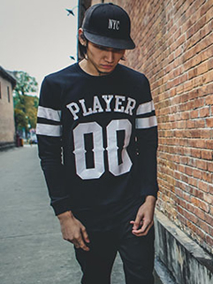 Korean Style Number and Letter Printing Slim Fit Long Black Sports Hoodie For Men