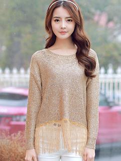 2015 Hot Fashion Women Tassel Long Sleeve Loose Woolen Sweater