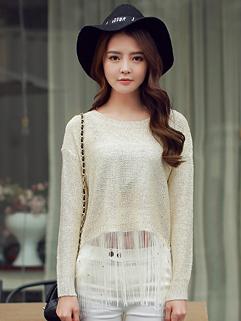 Fashion Casual Loose Tassel O-Neck Long Sleeve Apricot Sweater