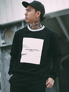 Casual Style Contrast Color Block Loose Mens Hoodie Long Sleeve Black Wholesale Hoodie